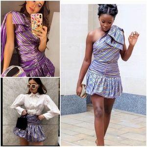 Zara Skirts - Zara striped shiny mini skirt bloggers fave